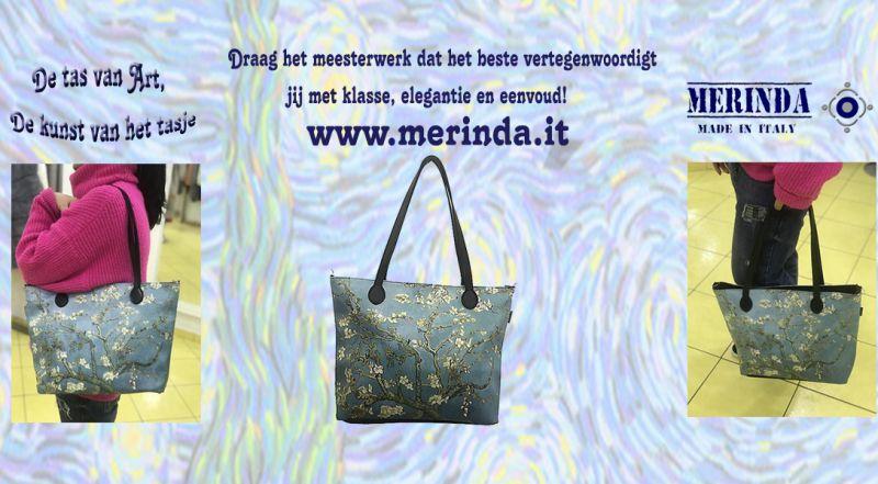 MERINDA - productie sale kunst tassen kunstrugzakken gemaakt in Italië Van Gogh sterrennacht