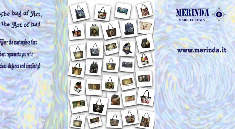MERINDA - Offer production sale art bags art backpacks made in Italy Klimt - Frida - Van Gogh