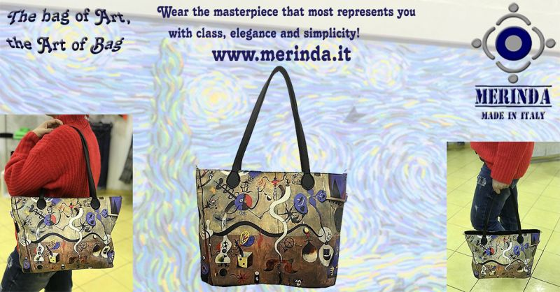 MERINDA Offer production sale art bags art backpacks made in Italy Klimt Frida Mirò Van Gogh