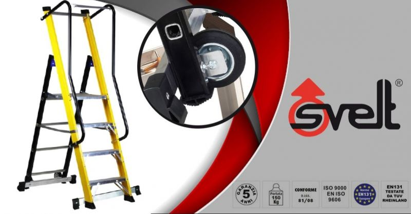 SVELT - Scala professionale isolata elettricamente MOBY FIBRA Altezza max m 2,03 in vetroresina